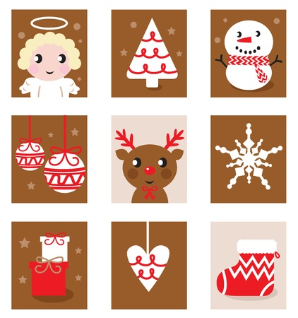 Christmas icon blocks isolated on white ( red & brown ) Vector