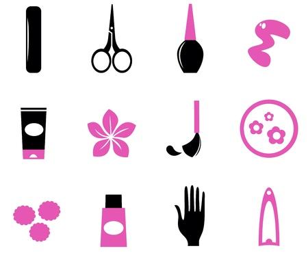 mimos: Manicura y uñas juego de iconos, los elementos de diseño vectorial Vectores
