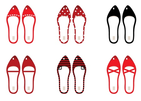 Retro simple shoes collection. Vector illustration in vintage style. Vector