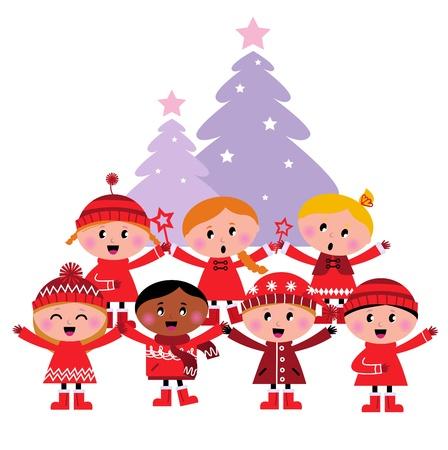 coro: Cantando grupo de niños aislados en blanco. Vector ilustración de dibujos animados.