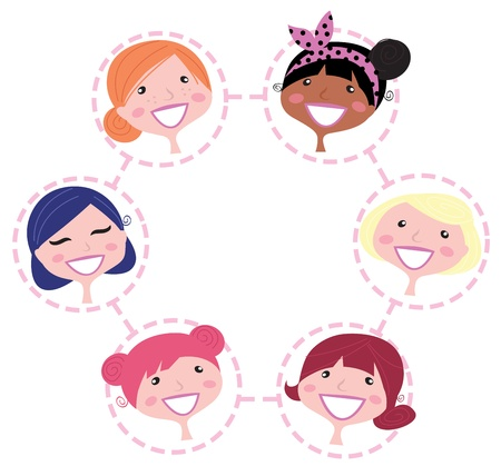 mother cartoon: Cute multicultural woman in circle. Vector Illustration.