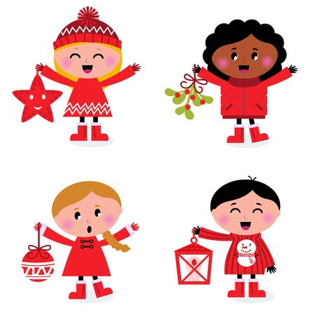 Winter happy kids collection. Vector cartoon illustration. Vector