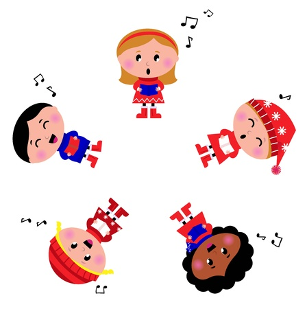 canta: Carino bambini natale cantando e caroling. Illustrazione Vettoriale.
