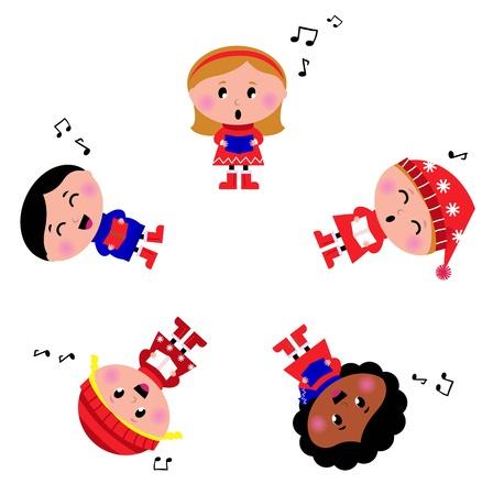 Cute christmas kids singing and caroling. Vector Illustration.