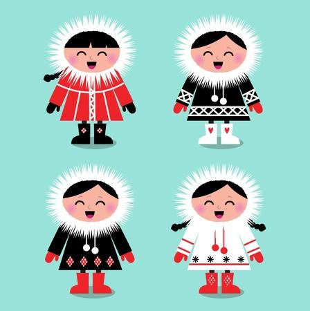 Felices los niños esquimales en estilo retro. Ilustración vectorial