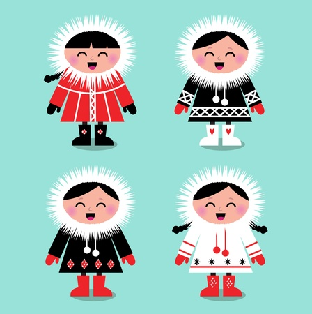 Happy eskimo children in retro style. Vector Illustration Vector