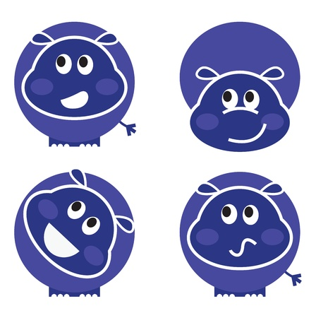 Set of hippopotamus icons isolated on white. Vector cartoon Vector