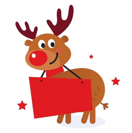 and invites: Reindeer with blank banner sign. Vector Illustration Illustration