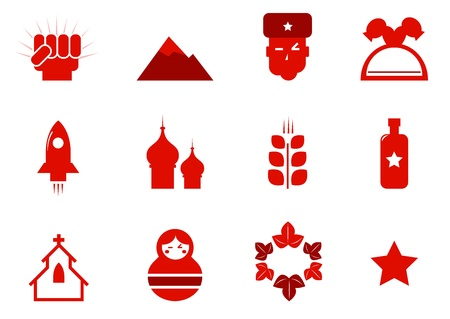 people in church: Russia and communism red retro icons. Vector