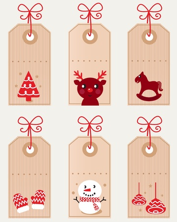 Retro xmas tags set with cute characters and decoration. Vector Vector