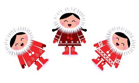 the inuit: Happy stylized eskimo kids. Vector illustration in retro style. Illustration