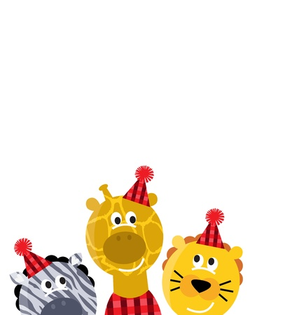 Cute xmas animals group with party hats. Vector cartoon Illustration Vector