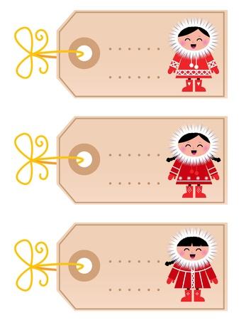 esquimal: En blanco retro etiquetas de Navidad con los esquimales lindo. Vector Vectores
