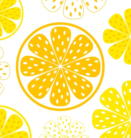 orange slice: Light and fresh yellow lemon pattern or texture. Vector