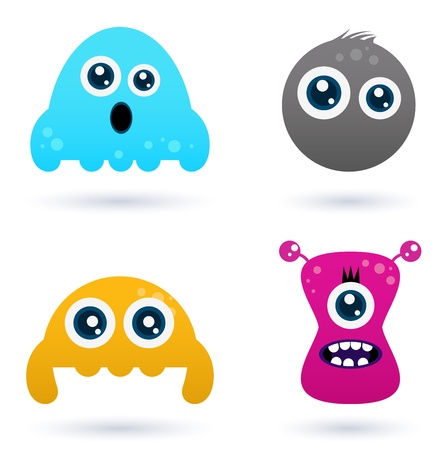 Cute monster or germs characters collection. Vector cartoon Illustration Vector