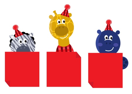 Happy animals holding blank banners for your christmas party. Illustration