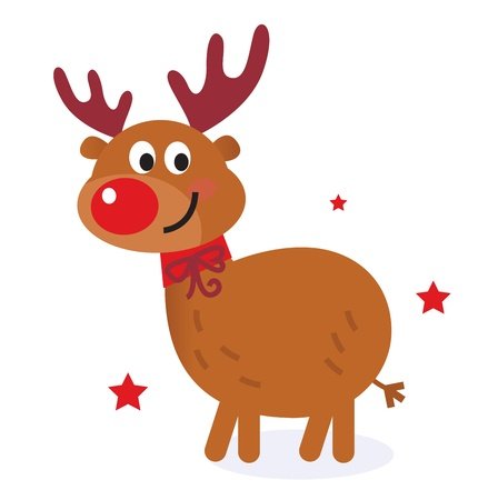 Christmas red nose reindeer. Vector cartoon Illustration.