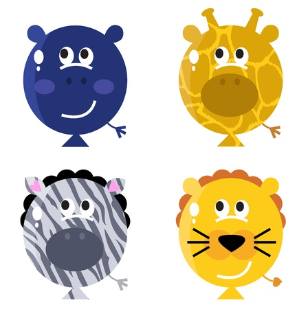 Cute animals faces on ballon - hippo, giraffe, zebra, lion. Vector Illustration Vector