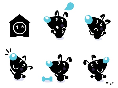 Cute style vector icons. Little black dog in various poses - thinking, looking, angry etc. Vector Illustration. Vector