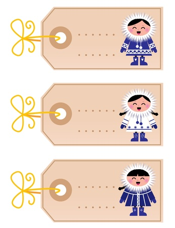 Blank retro christmas tags with cute eskimos. Vector Vector