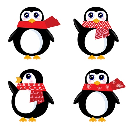four friends: Cute vector Penguins isolated on white. Vector