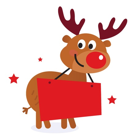 rudolph the red nose reindeer: Reindeer with blank banner sign. Vector Illustration Illustration