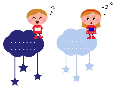 Cute christmas cloudy labels with caroling kids. Vector cartoon design elements.