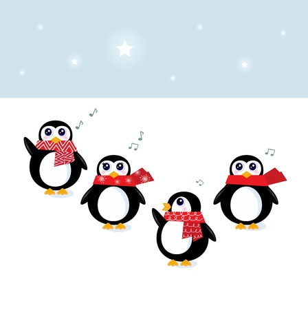 Cute Penguins singing christmas song. Vector Illustration Vector