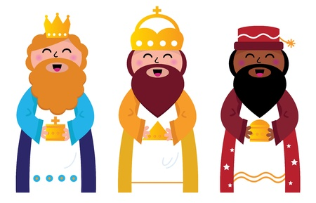 wise men: Caspar, Melchior and Balthazar follow the star of Bethlehem. Vector cartoon Illustration Illustration