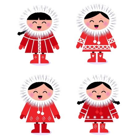 esquimal: Linda esquimal ni�os en abrigo rojo. Vector ilustraci�n retro