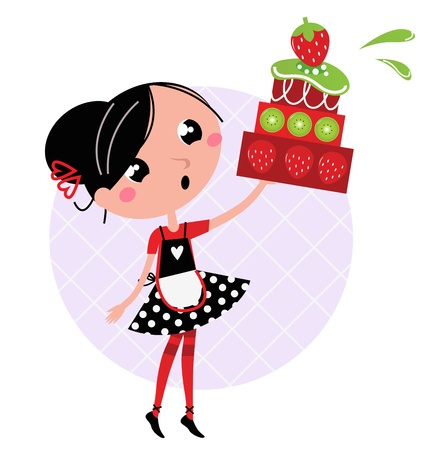 bake: Cute retro girl holding Cake. Vector cartoon illustration