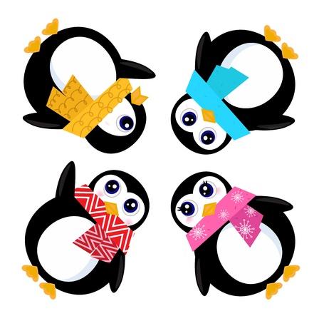 pinguinos navidenos: Lindos ping�inos estilizada. Ilustraci�n vectorial de dibujos animados Vectores
