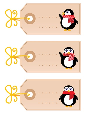 Retro christmas tags with Penguins. Vector cartoon Illustration Vector