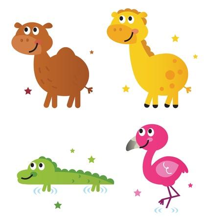 Safari animals - giraffe, camel, croc and flamengo. Vector cartoon Vector