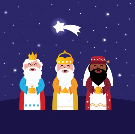 Caspar, Melchior and Balthazar follow the star of Bethlehem. Vector Illustration