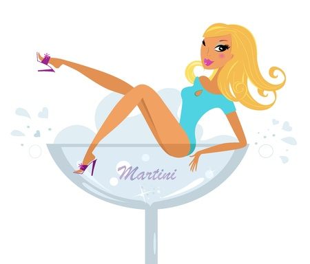 Woman sitting in alcohol glass showing her legs. Vector retro Illustration Stock Vector - 11659599