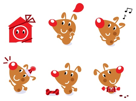 Little brown christmas dog collection. Vector cartoon Illustration. Vector