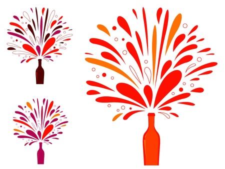 vibrant colors fun: Collezione di vino retr� con colori vivaci isolato su bianco. Illustrazione vettoriale.