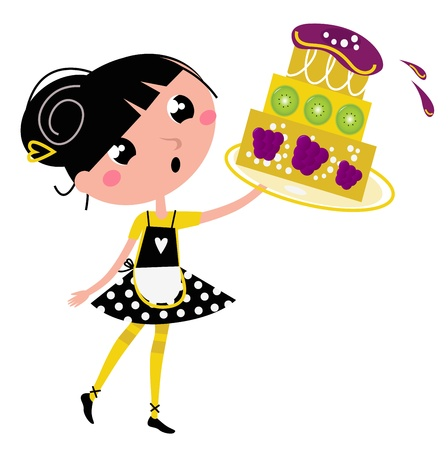 little chef: Cute retro girl holding Cake. Vector cartoon illustration