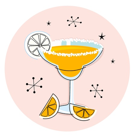 mixed drink: Margarita drink in hand drawn retro style. Vector Illustration