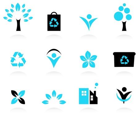 Bio, icônes naturelles et écologiques réglé. Vecteur