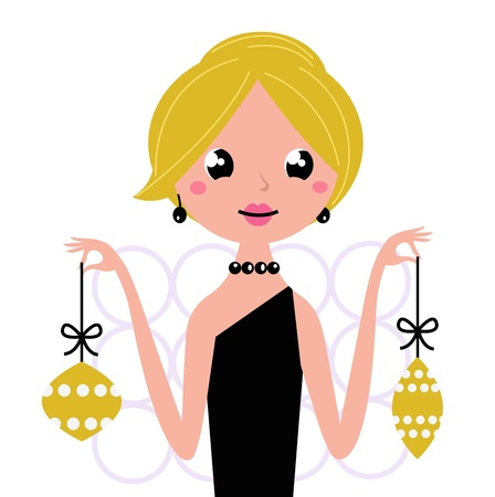 Cute retro woman holding christmas balls. Vector vintage Illustration. Stock Vector - 11659319