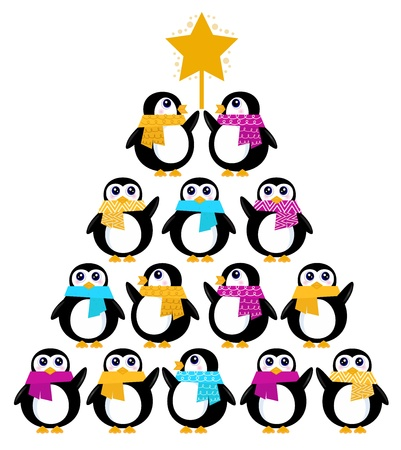 warm colors: Penguins standing in pyramid. Vector cartoon Illustration