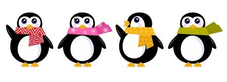 antarctica: Cute winter stylized Penguins. Vector cartoon Illustration Illustration