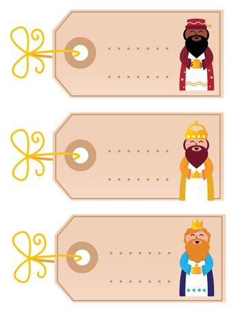 Three wise man blank cards for your present. Vector Illustration Vector