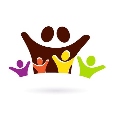 familias unidas: Icono de la familia de colores o signo aislado sobre fondo blanco. Vector