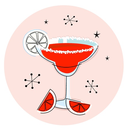 Margarita drink in hand drawn retro style. Vector Illustration Vector