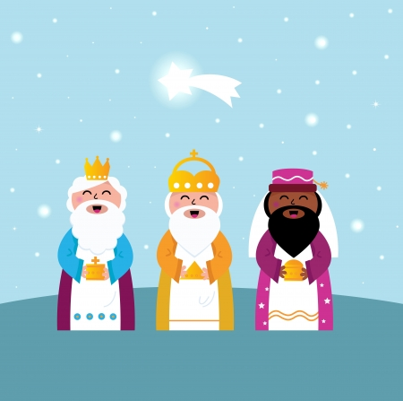 three presents: Caspar, Melchior and Balthazar follow the star of Bethlehem. Vector Illustration