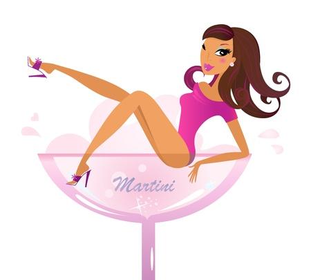 그녀의 다리를 보여주는 알코올 유리 앉아있는 여자. 벡터 복고 일러스트 일러스트