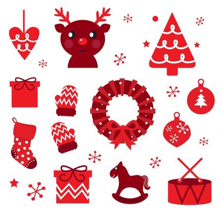 decoraciones de navidad: Red retro xmas artículos y elementos (rojo) Vectores